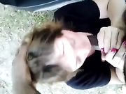 Interracial outdoor blowjob and sex
