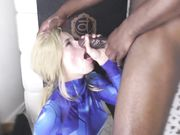 Pretty blonde gets a big jizz load on her face from black man